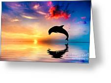 Beautiful Ocean And Sunset With Dolphin Jumping Greeting Card by Michal Bednarek