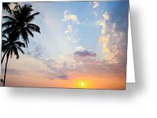 Beautiful Tropical Sunset Greeting Card by Nila Newsom