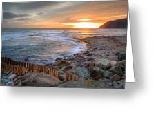 Beautiful Vibrant Sunrise Over Low Tide Beach Landscape Greeting Card by Matthew Gibson