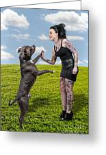 Beautiful Woman And Pit Bull Greeting Card by Rob Byron