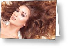 Beautiful Woman With Long Hair Spread Around Her Greeting Card by Oleksiy Maksymenko