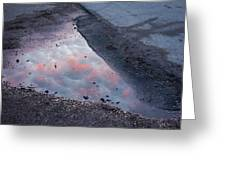 Beauty Is Everywhere - Sky Reflected In Puddle Of Water Greeting Card by Matthias Hauser