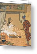 Bedroom Scene Greeting Card by Georges Barbier