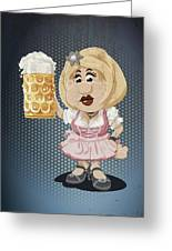 Beer Stein Dirndl Oktoberfest Cartoon Woman Grunge Color Greeting Card by Frank Ramspott