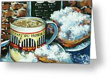 Beignets And Cafe Au Lait Greeting Card by Dianne Parks