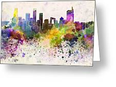 Beijing Skyline In Watercolor Background Greeting Card by Pablo Romero
