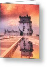 Belem Tower Greeting Card by Mo T