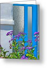 Belmont Shore Blue Greeting Card by Gwyn Newcombe
