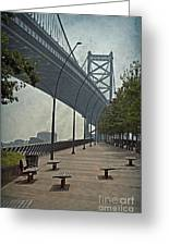 Ben Franklin Bridge And Pier Greeting Card by Tom Gari Gallery-Three-Photography
