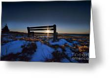 Bench On Top Of Mountain At Sunset Greeting Card by Dan Friend