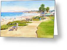 Benches at Powerhouse Beach Del Mar Greeting Card by Mary Helmreich