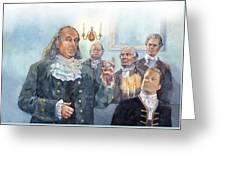 Benjamin Franklin At Albany Congress Greeting Card by Matthew Frey