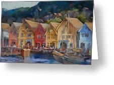 Bergen Bryggen In The Early Morning Greeting Card by Joan  Jones