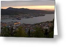 Bergen Sunset Panorama Greeting Card by Benjamin Reed