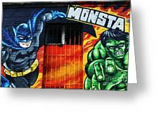 Berlin Monsta Door Greeting Card by John Rizzuto