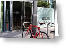 Berlin Street View With Red Bike Greeting Card by Ben and Raisa Gertsberg
