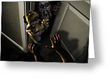 Beware Zombies Bearing Gifts Greeting Card by Randy Turnbow