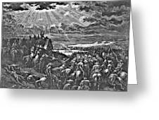 Biblical Battle Scene Engraving Greeting Card by