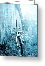 Bicycle In Blue Greeting Card by Stephanie Frey