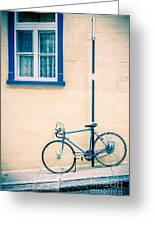 Bicycle On The Streets Of Old Quebec City Greeting Card by Edward Fielding