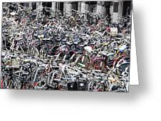 Bicycle Parking Lot Greeting Card by Oscar Gutierrez