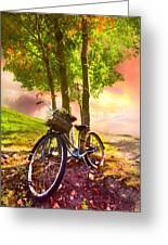 Bicycle Under The Tree Greeting Card by Debra and Dave Vanderlaan