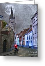 Bicycling Through Bruges Greeting Card by Juli Scalzi