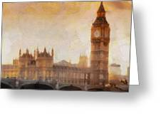 Big Ben at dusk Greeting Card by Pixel Chimp