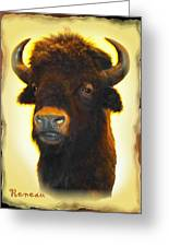 Big Game Trophy - Buffalo Greeting Card by Sadie Reneau