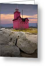 Big Red Lighthouse By Holland Michigan Greeting Card by Randall Nyhof