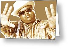 Biggie Smalls Stylised Pop Art Colour Drawing Poster Greeting Card by Kim Wang