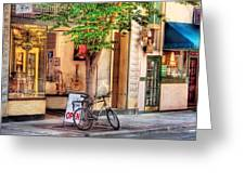 Bike - The Music Store Greeting Card by Mike Savad