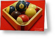 Billiards - 9 Ball - Pool Table - Nine Ball Greeting Card by Paul Ward