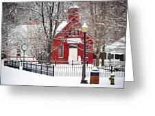 Billie Creek Village Winter Scene Greeting Card by Virginia Folkman