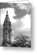 Billy Penn Vertical Bw Greeting Card by Photographic Arts And Design Studio