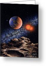 Binary Red Dwarf Star System Greeting Card by Lynette Cook