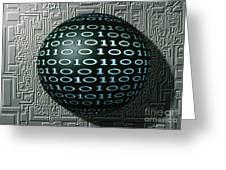 Binary Sphere Greeting Card by Gregory MacNicol