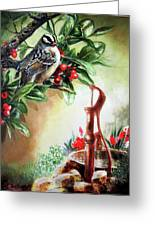 Bird And Berries Greeting Card by Gina Femrite