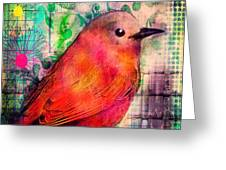Bird On A Wire Greeting Card by Robin Mead