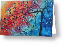 Birds And Blossoms By Madart Greeting Card by Megan Duncanson