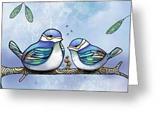 Birds Of Blue Greeting Card by Karin Taylor