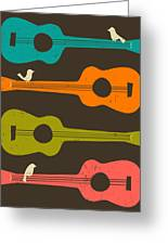 Birds On Guitar Strings Greeting Card by Jazzberry Blue