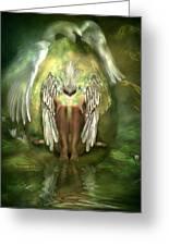 Birth Of A Swan Greeting Card by Carol Cavalaris