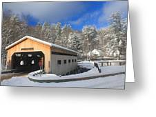 Bissell Covered Bridge In Winter Greeting Card by John Burk
