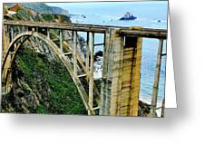 Bixby Creek Bridge Panorama Greeting Card by Benjamin Yeager