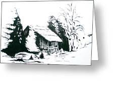 Black And White Barn In Snow Greeting Card by Joyce Gebauer