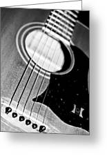 Black And White Harmony Guitar Greeting Card by Athena Mckinzie