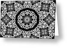 Black And White Medallion 10 Greeting Card by Angelina Vick