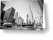 Black And White Picture Of Downtown Chicago Greeting Card by Paul Velgos
