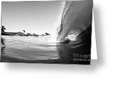 Black And White Santa Cruz Wave Greeting Card by Paul Topp